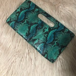 Turquoise snakeskin clutch from Express